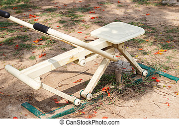 exercise equipment - metal exercise equipment in the public...