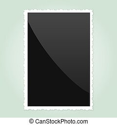 Retro Photo Frame On green Background Vector illustration