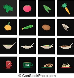 Set of icons of vegetables and culinary specialties