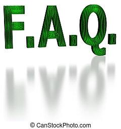 Green faq word in 3d