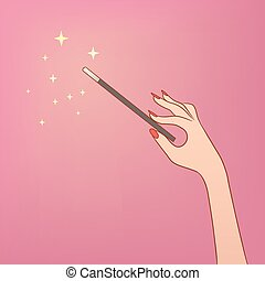 Magic wand - This is an illusrtation of a hand holding a...