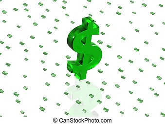 Big three-dimensional green dollar sign