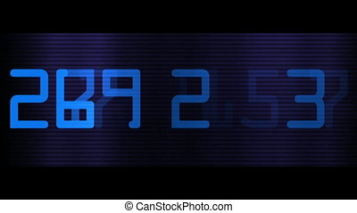 Close-up of blue digital numbers on dark striped background