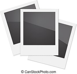 Set Retro Photo Frame Polaroid On White Background. Vector...