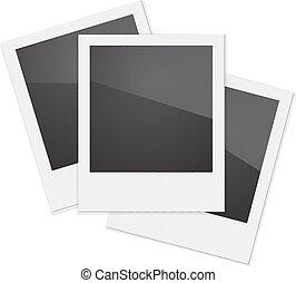 Set Retro Photo Frame Polaroid On White Background Vector...