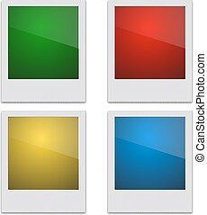 Set Retro Photo Frame Polaroid On White Background. Vector...