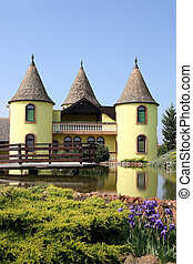 yellow castle with pond Eastern Europe Serbia