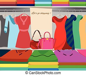 Wardrobe closet shopping background vector illustration.