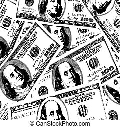 Financial concept of earnings, American dollars, background. Vec