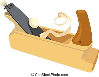 Wooden plane, boards and a shaving on a white background...