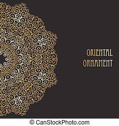 Abstract vector circle floral ornament. - Lace pattern round...