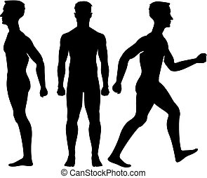 Collection  silhouettes of man in front and side view. Vector illustration, isolated on white background