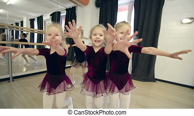 Catching Camera - Five little ballerinas approaching camera...