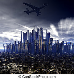 airliner above city