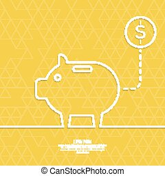 Icon Pig piggy bank. Symbol of conservation and enhancement...