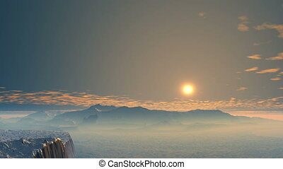Colorful sunrise over the valley - On the horizon, low...