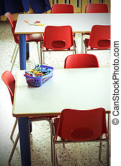 Classroom with red chairs in the kindergarten - Classroom...