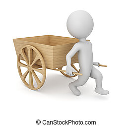 3D man with empty wooden cart