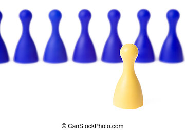 color pawn on white background