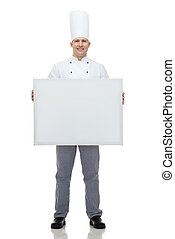 happy male chef cook holding white blank big board -...