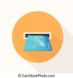 Credit Card in Atm Slot Icon Flat Vector Illustration