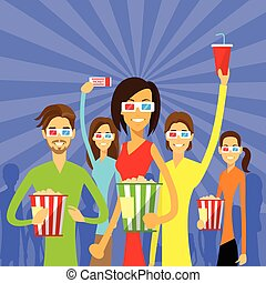 People Group Watching Movie in Cinema 3d Glasses with...
