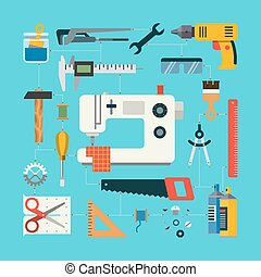 Handmade concept with icons of sewing, construction, repair, drafting items and tools. Flat design vector illustration