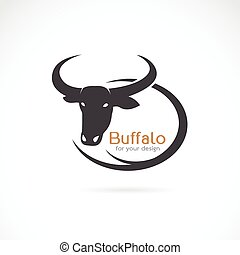 Vector image of an buffalo design on white background