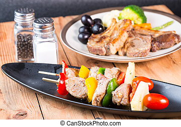 barbecue skewers colorful kabobs on dish