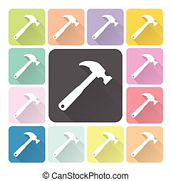 Hammer Icon color set vector illustration
