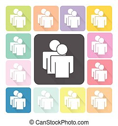 People Icon color set vector illustration