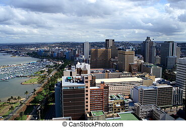 durban city - overhead view of Durban harbour and city on a...