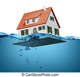 Toy house sinking underwater on a white background showing...