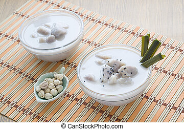 Thai dessert, Taro in sweet coconut milk - Thai dessert,...