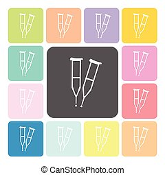 Crutches Icon color set vector illustration