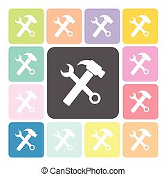 Wrench and hammer Icon color set vector illustration