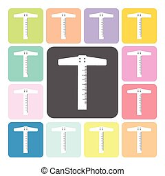 T-square ruler Icon color set vector illustration