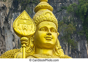 Golden HIndu Statue in Batu Caves