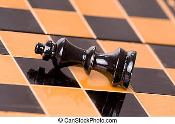 chess - one figure of chess on chessboard