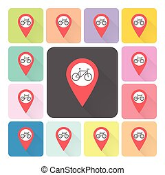 Location bike Icon color set vector illustration