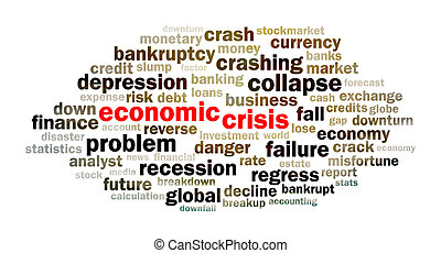 Concept of economic crisis word cloud on white background