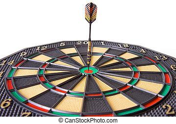 dart in dartboard on white background