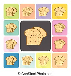 Bread Icon color set vector illustration