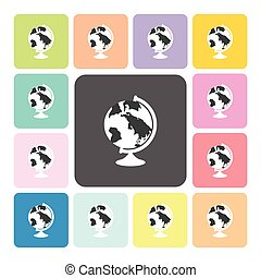 Globe Icon color set vector illustration