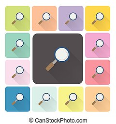 Magnifier Icon color set vector illustration