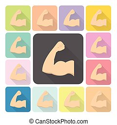 Muscle Icon color set vector illustration