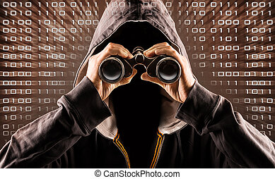hacker - picture of a hacker with a spyglass
