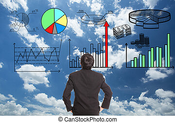 Businessman looking growing graph in stock marketing