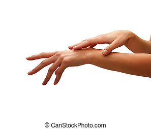 Beautiful woman hands - care for sensuality woman hands