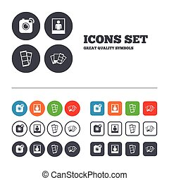 Photo camera icon. Flash light and selfie frame. - Hipster...